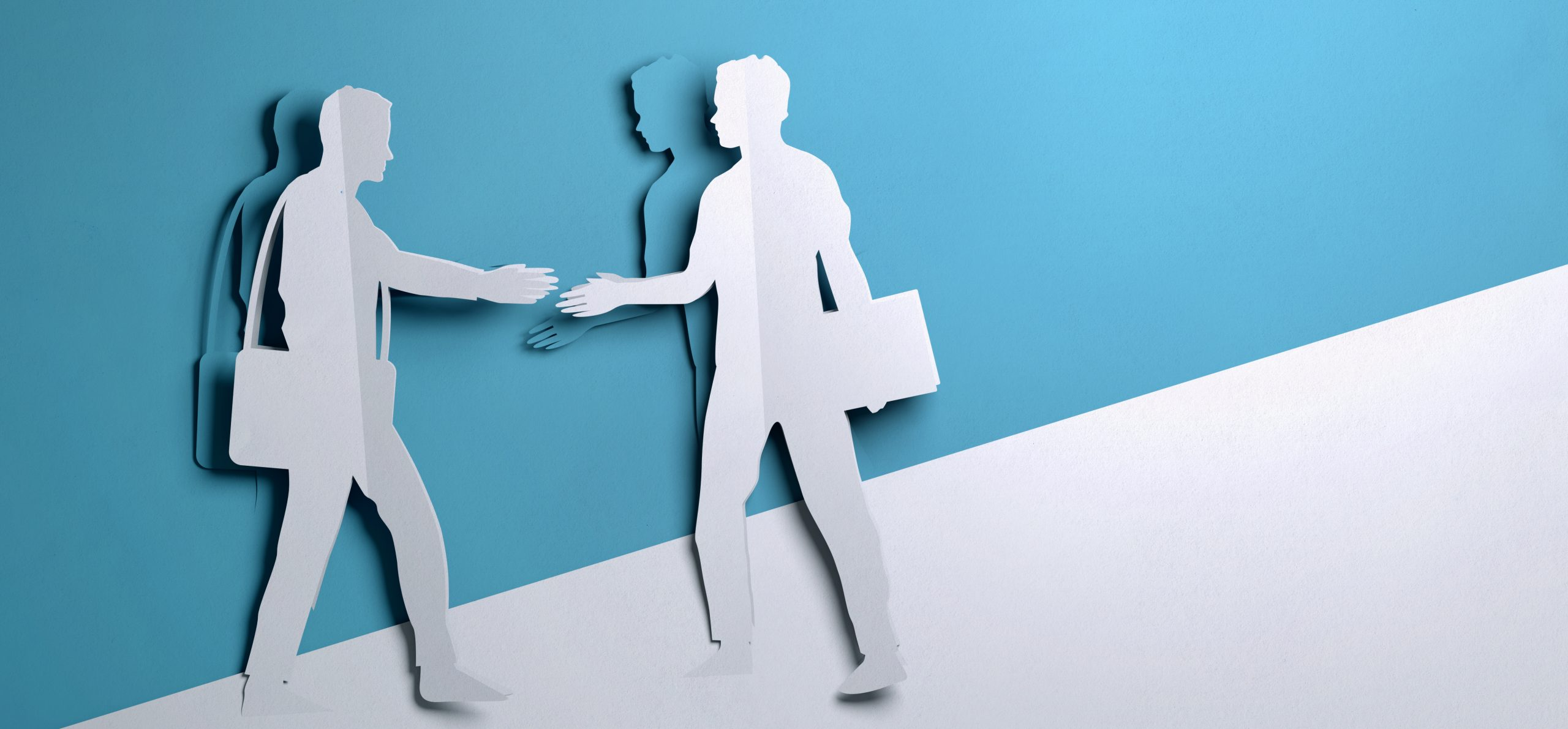 Folded Paper art origami. Two Businessman shaking hands on a business deal opportunity.Paper craft 3D illustration.