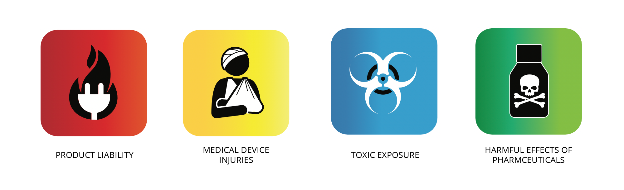 colored boxes with four different icons representing the four categories of mass tort claims: medical device injuries, harmful effects of pharmaceuticals, toxic exposure and product liability